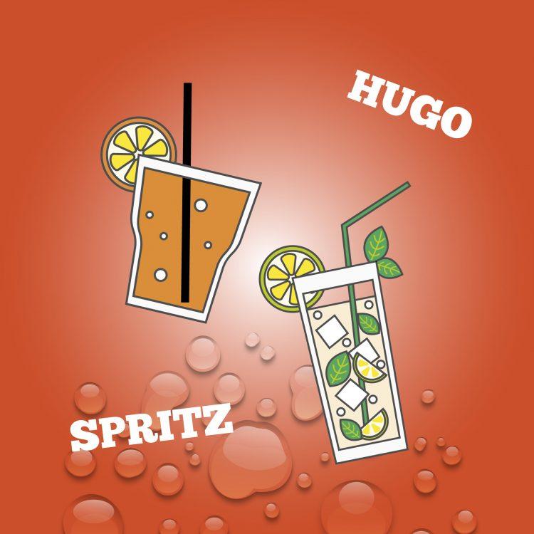 Spritz e Hugo ice cream cocktail