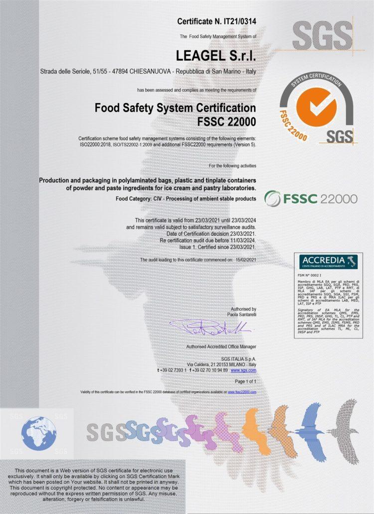 Leagel FSSC 22000 Certification